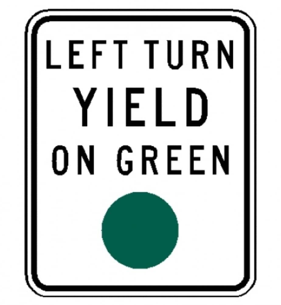Left Turn Yeld on Green - Segnaletica americana Guidare negli Stati Uniti