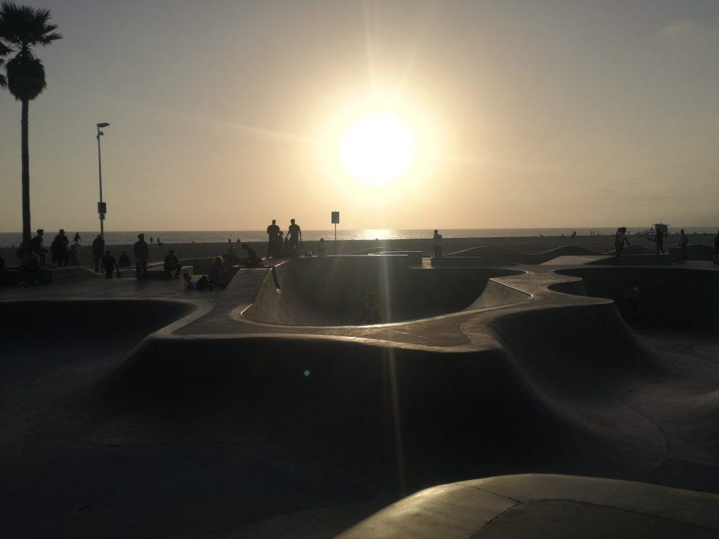 bici Santa Monica Venice Tramonto sullo Skate Park