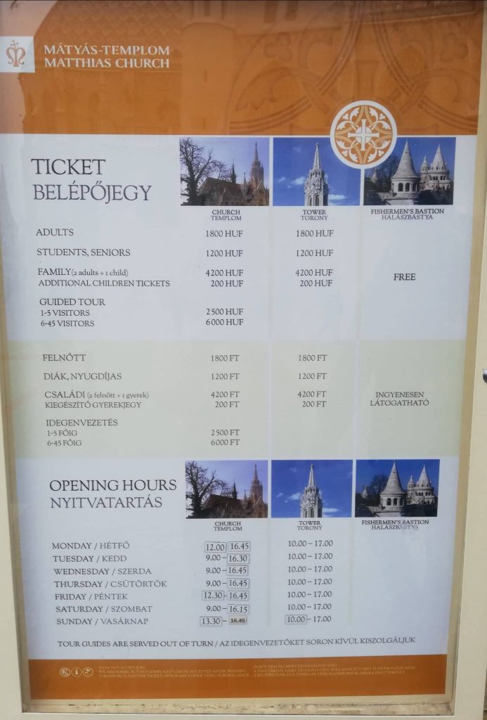 Orari e prezzi della Chiesa di Mattia + torre + Bastione dei Pescatori a Budapest - gennaio 2020