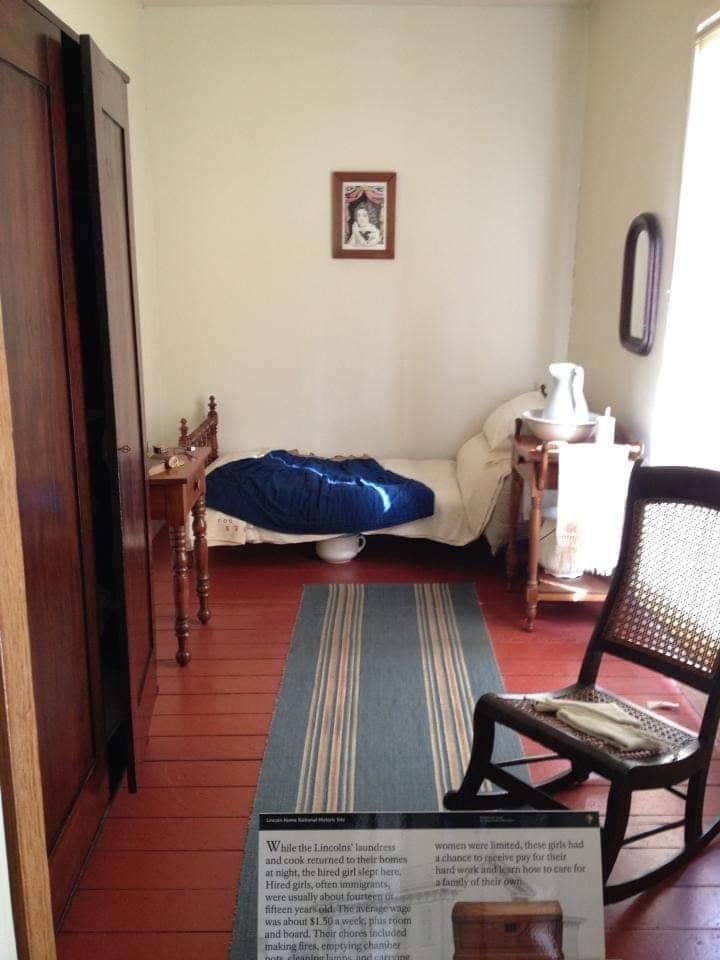 Camera della domestica nella casa di Lincoln a Springfield Illinois