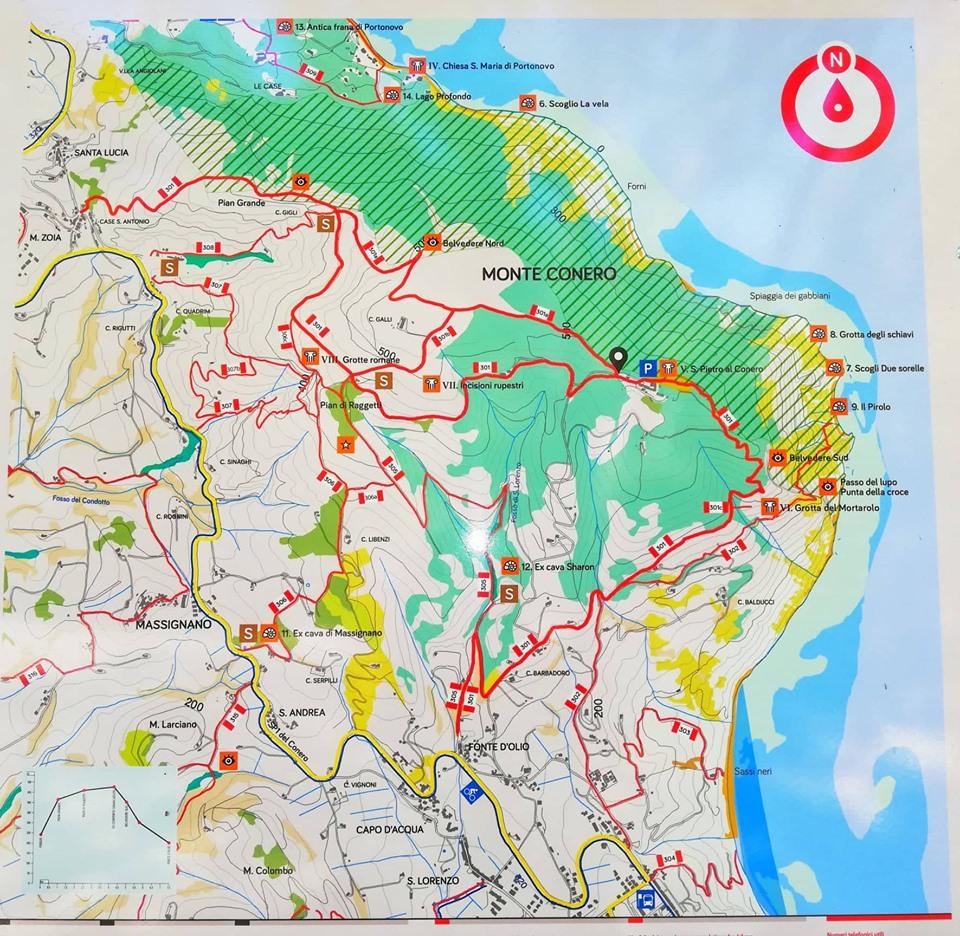 Mappa dei sentieri del Monte Conero