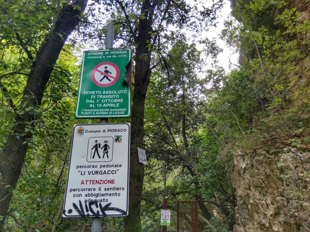 Indicazioni per affrontare il sentiero dei mostri Li Vurgacci - Pioraco