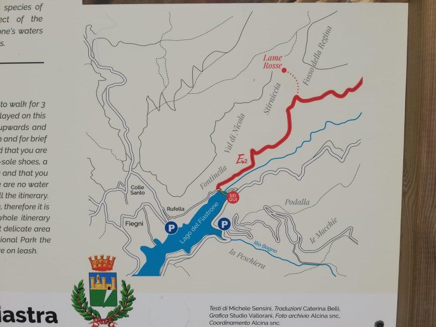 Visita alle Lame Rosse di Fiastra - Pannello illustrativo del sentiero