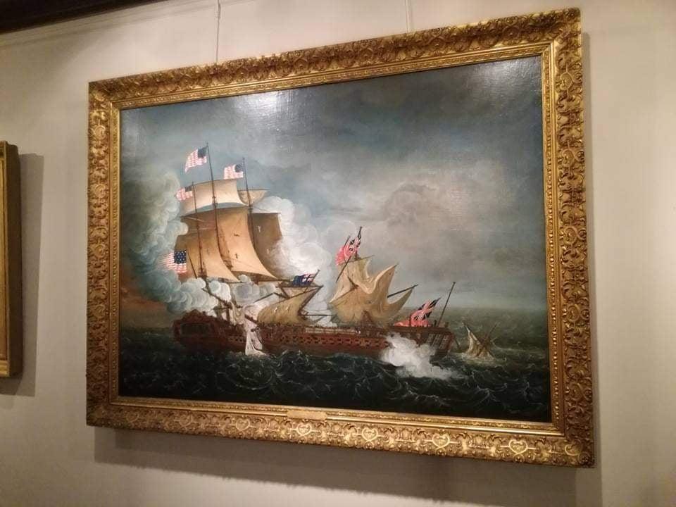 visita Accademia Navale Annapolis dipinto di scene di guerra in mare