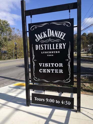 fabbrica Jack Daniel's Lynchburg cartello di ingresso al visitor center