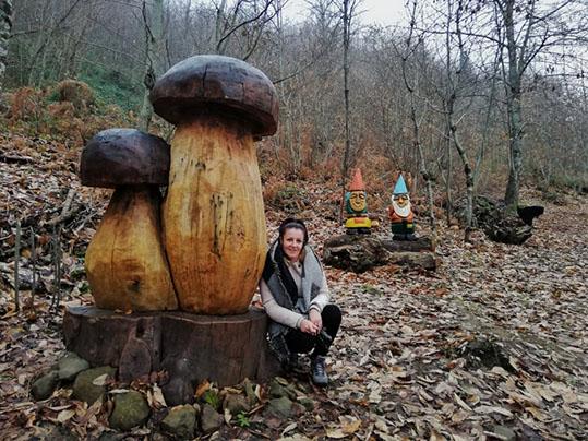 sentiero armonia con le sculture in legno di grandi funghi porcini e gnomi Raggiolo