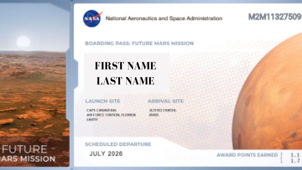 Biglietto per andare su Marte Nasa 2026