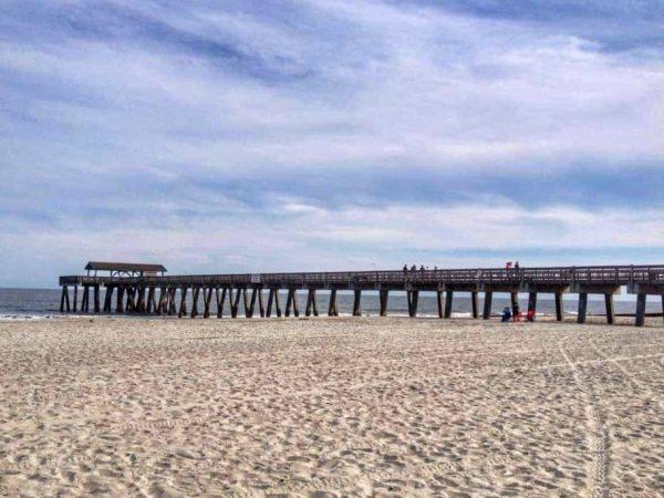Spiaggia di Tybee Island Pavillon Pier Georgia