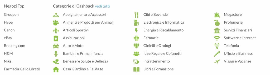 elenco di tutte le categorie non solo inerenti ai viaggi dell'app cashback Bestshopping