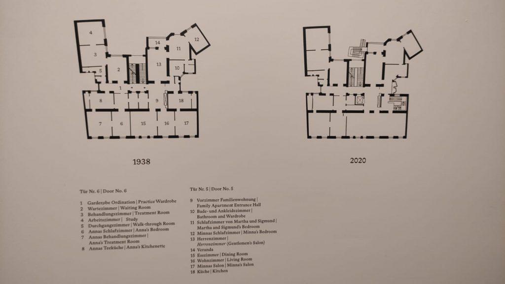 Pianta dell'appartamento di Freud nel 1938 ed oggi come museo - Vienna