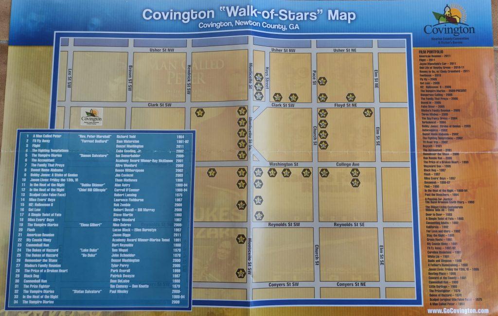Covington Walk of stars mappa per visitare Location The Vampire Diaries