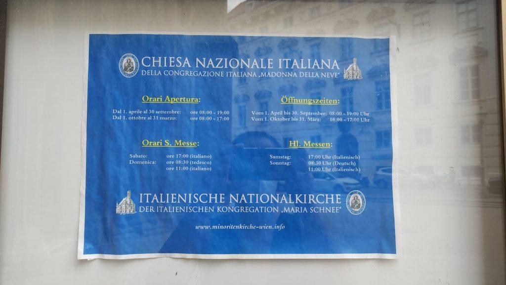 Orari della SS Messa in italiano a Vienna - Minoritenkirke