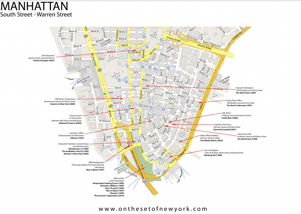 mappa dei film girati a Manhattan South street