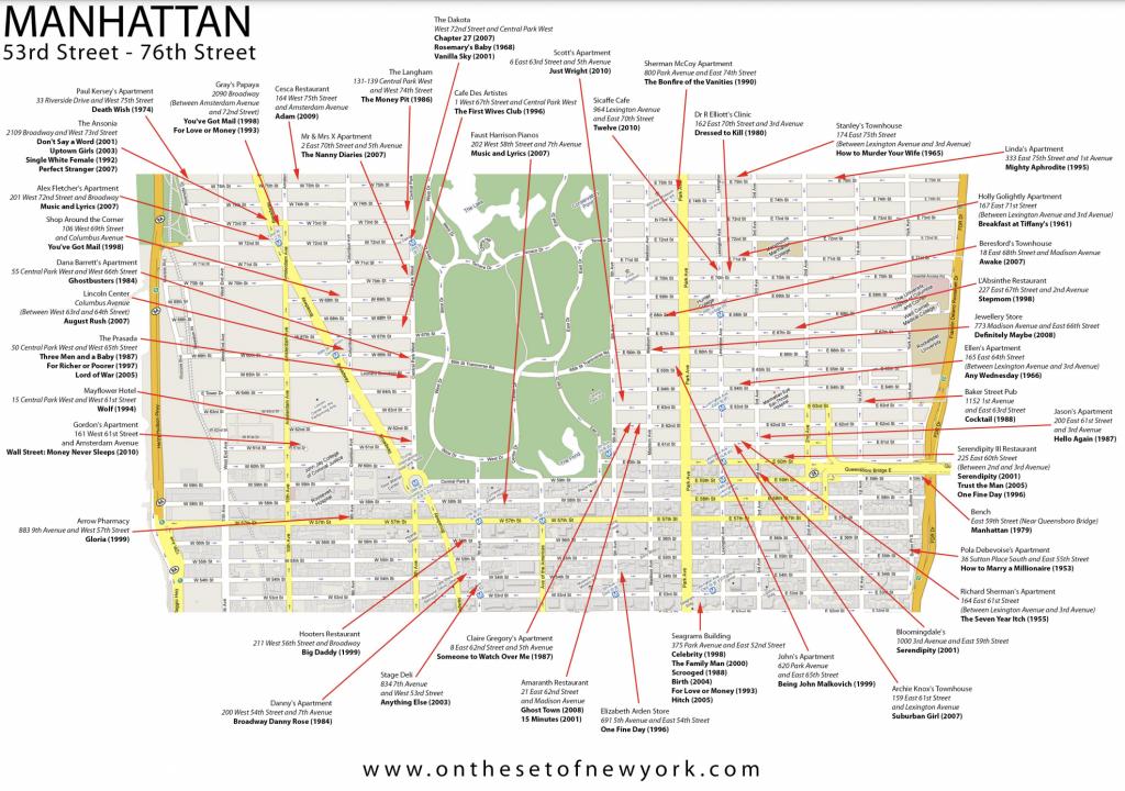 mappa dei film girati a Manhattan lower Central Park